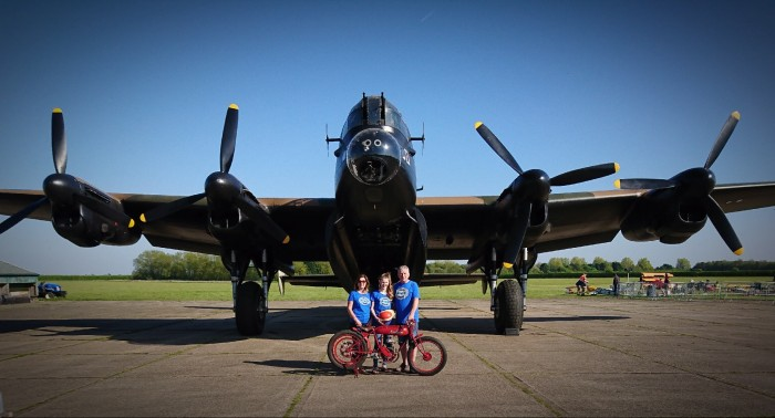 Our Motobecane track board racer in front of Just Jayne the Lancaster