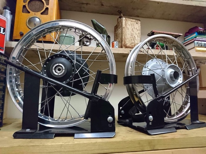 Manx Norton conical & Triumph conical. Wheels built by us